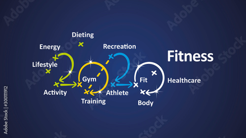 Fitness 2020 word cloud arrows blue background vector