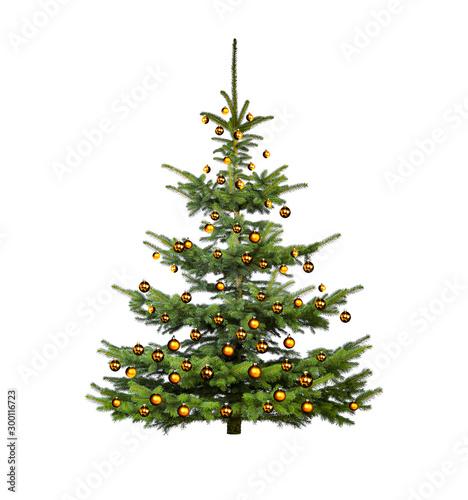 Glänzend Dekorierter Weihnachtsbaum mit Weihnachtskugeln Fototapeta