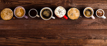 Lots Of Coffee In Different Cups On Wooden Table