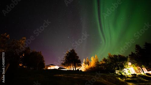 Fototapeta Northern lights at Borganes Iceland - aurora borealis obraz na płótnie