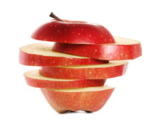Sliced Red Apple Isolated On W...