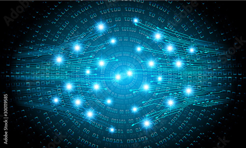 binary circuit board future technology, blue cyber security concept background, abstract hi speed digital