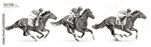 Fototapeta Set. Jockeys on racing horses. Sport. Champion. Hippodrome. Racetrack. Equestrian. Derby. Speed. Isolated on white background. Vector illustration obraz