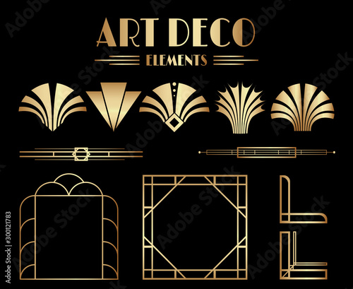 Geometric Gatsby Art Deco Ornaments, Dividers and Frame Elements Canvas Print