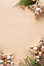 Happy New Year Gold Baubles Branches On Beige Background, Vertical