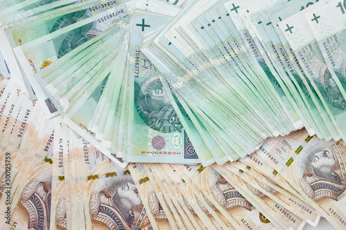 Fotomural  Lots of polish currency money zloty