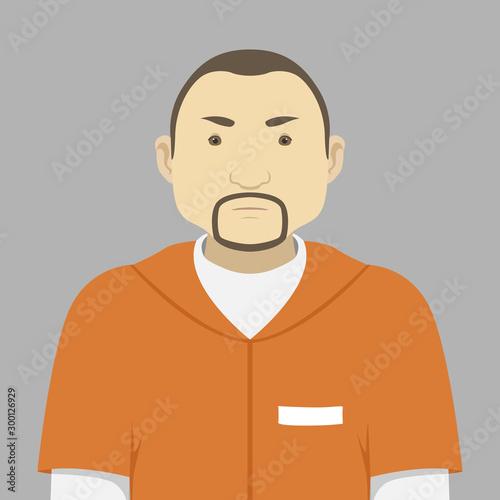 Prisoner in orange uniform. Vector illustration. Wallpaper Mural