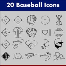 Baseball Scoring Icons. Baseball Player Tool Vector Icon Pack. Baseball Field, Plate, Ball, Batters Box, Bats, Home Plate, Mitt, Glove, Diamond, Jersey, Bag, Hat, Cap, Mound, Swing