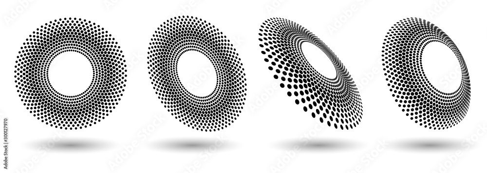 Fototapety, obrazy: Modern abstract background. Halftone dots in circle form. Round logo. Vector dotted frame. Design element or icon.