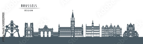 Canvas Print Brussels skyline with illustration. City Silhouette