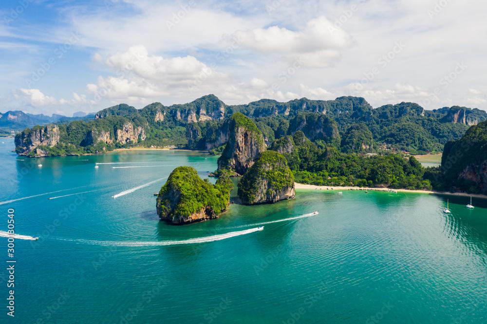 Fototapety, obrazy: amazing Thailand high season beautiful seascape aerial view ao nang beach island krabi Thailand