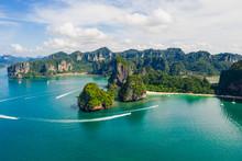 Amazing Thailand High Season Beautiful Seascape Aerial View Ao Nang Beach Island Krabi Thailand