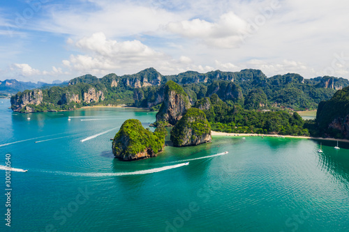 Obraz na plátně  amazing Thailand high season beautiful seascape aerial view ao nang beach island