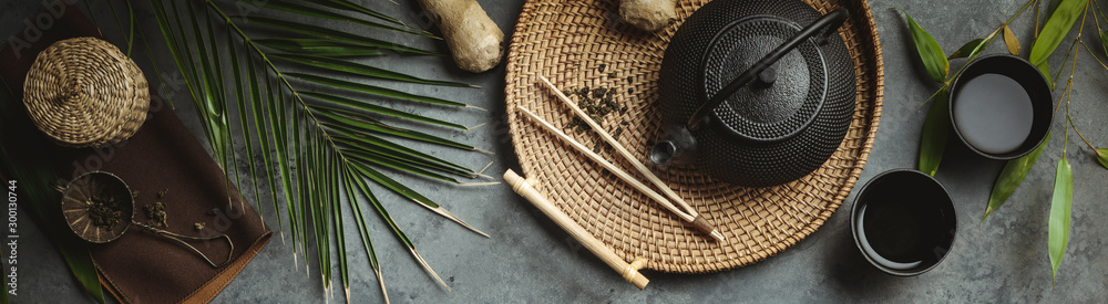 Fototapety, obrazy: Traditional Asian tea ceremony arrangement, flat lay