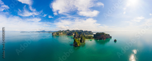 Montage in der Fensternische Blau türkis panoramic landscape aonang and rairay beach island krabi province Thailand aerial panorama seascapes view from drone camera