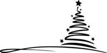 Tree Drawing Winter Christmas Vector Silhouette