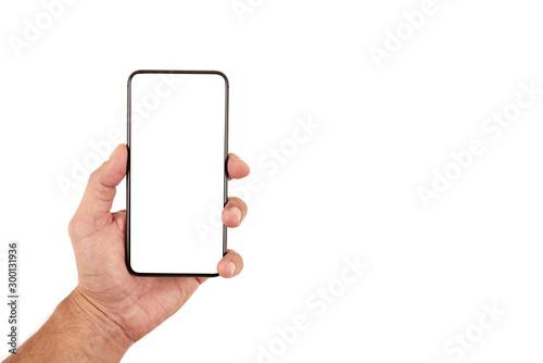 Męskie dłonie trzymają smartfon, telefon na białym tle Wallpaper Mural