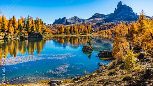 Fotografie, Tablou  Golden reflections on the Federa lake. Dreamlike Dolomites. Italy