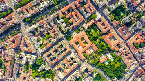 Spoed Fotobehang Milan Milan, Italy. Roofs of the city aerial view. Cloudy weather, Aerial View, HEAD OVER SHOT