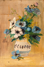 Vintage Oil Painting Of Flowers In A White Vase With Cracked Paint In Several Areas. Art Restoration Concept.