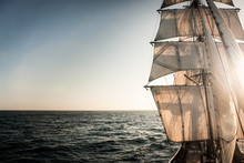 Backlit Sails Of A Traditional...