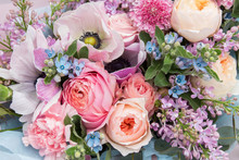 Beautiful Elegant Soft Wedding Pink Blue Bouquet With Roses And Lilac Flowers. Floral Background