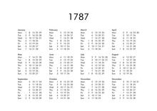 Calendar Of Year 1787