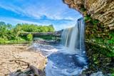 Jagala Waterfall (juga) is waterfall in Northern Estonia on Jagala River. highest natural waterfall in Estonia height 8 meters. Summer sunny day. Jagala-Joa, Joelahtme Parish, Harju County, Estonia