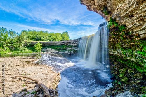 Jagala Waterfall (juga) is waterfall in Northern Estonia on Jagala River. highest natural waterfall in Estonia height 8 meters. Summer sunny day. Jagala-Joa, Joelahtme Parish, Harju County, Estonia - 300142333