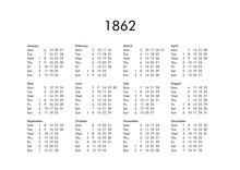 Calendar Of Year 1862
