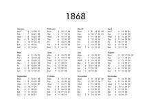 Calendar Of Year 1868