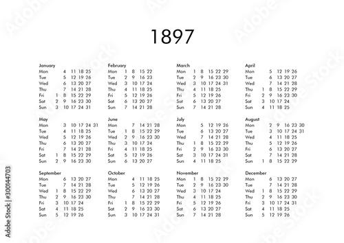 Obraz na plátně Calendar of year 1897