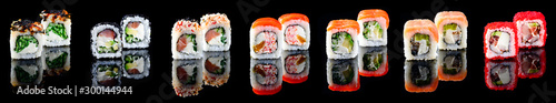 Printed kitchen splashbacks Sushi bar Different kinds of sushi roll Japanese cuisiune