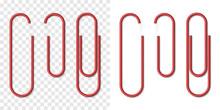 Vector Set Of Red Metallic Realistic Paper Clip