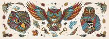Owls Heads. Old School Tattoo ...