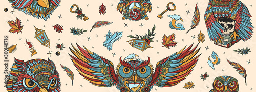 Owls seamless pattern. Old school tattoo style. Fairy tale art. Magic birds, traditional tattooing background