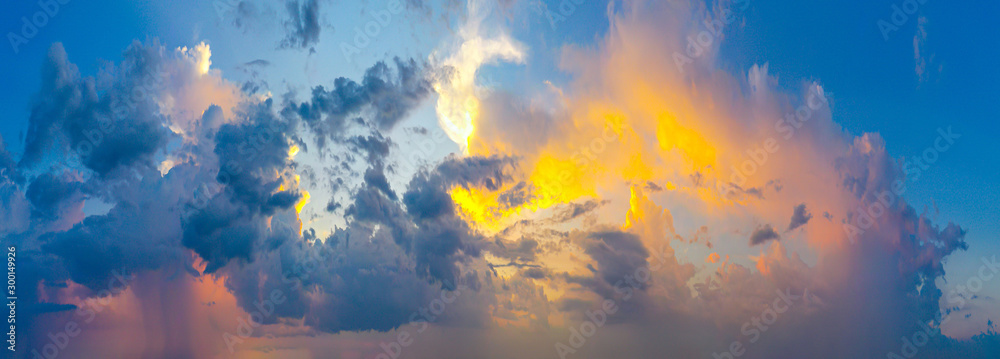 Fototapety, obrazy: Twilight and sunset with colorful clouds. Colorful panorama of High resolution sky.