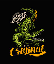 Crocodile T-shirt Design. Vint...