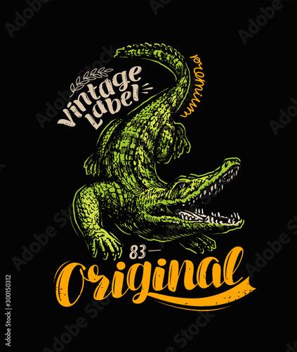 Crocodile t-shirt design. Vintage poster vector illustration Wallpaper Mural