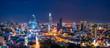 Leinwanddruck Bild - Cityscape of Ho Chi Minh City, Vietnam at night