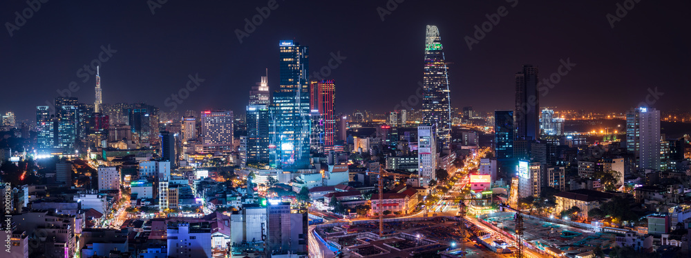Fototapeta Cityscape of Ho Chi Minh City, Vietnam at night
