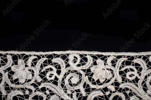 Pretty Vintage Victorian Lace on Black Background Wallpaper Mural
