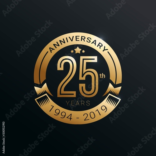 Tela  Anniversary golden badge 25 Years with gold style Vector Illustration