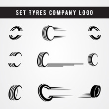 Set Of Tire Shop Logo Template. Tire Icon Vector Illustration.
