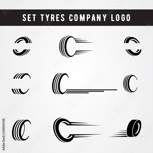 Fotografía Set of tire shop logo template. tire icon vector illustration.