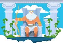 Cartoon Zeus. Legendary God Ch...