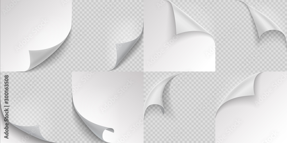 Fototapety, obrazy: Curled page corners. Flipped and turning paper leaf set on transparent background. Vector folded or turn-up book white page like effect curling peel or labe