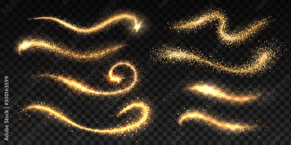 Fototapety, obrazy: Sparkle stardust. Magic glittering dust waves, golden glowing star trails, Christmas shining light effects. Vector glamour brush set for illustration fairy magic glittering gold image on black