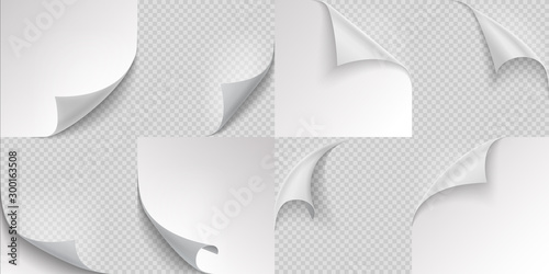 Fototapeta Curled page corners. Flipped and turning paper leaf set on transparent background. Vector folded or turn-up book white page like effect curling peel or labe obraz