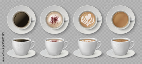 Obraz Realistic coffee cups. Espresso latte and cappuccino hot beverages, 3D mockup front and top views. Vector illustration isolated black coffee drink set on transparent background - fototapety do salonu
